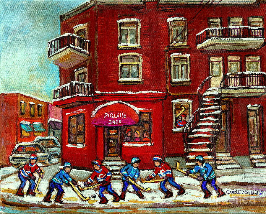 Bistro Piquillo Street Hockey Game Near The Resto Paintings Of Verdun Winter City Scenes Cspandau is a painting by Carole Spandau